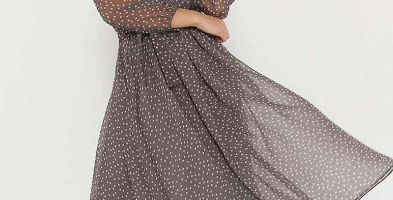 Long Sleeve Women Dresses Chiffon Vintage Vestidos