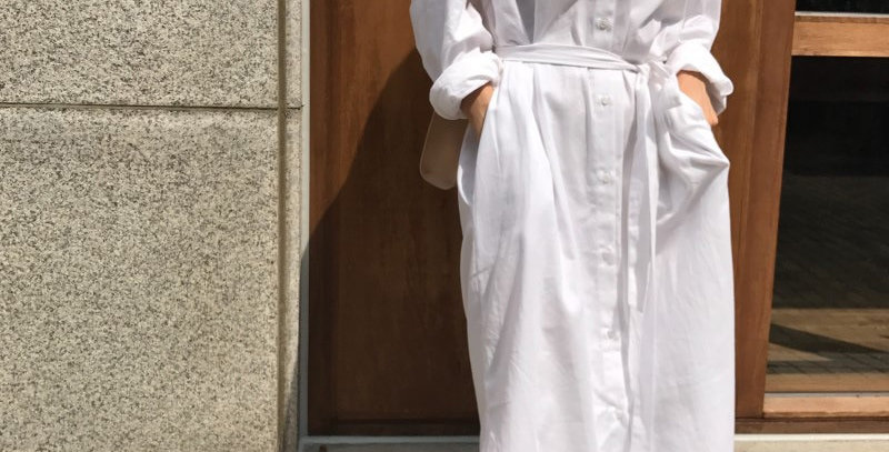 Long Sleeve Single Breasted Pockets Sashes Woman Dress