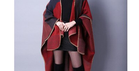 Warm Plaid Ponchos and Capes for Women Oversized