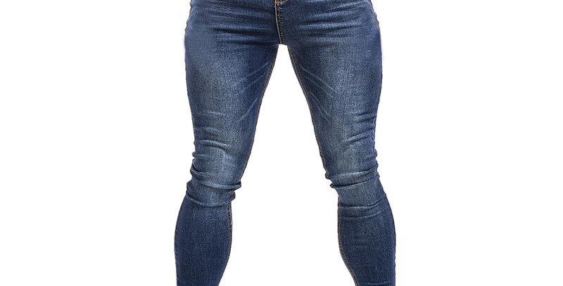 Gingtto Blue Jeans Slim Fit Super Skinny Jeans for Men Street Wear
