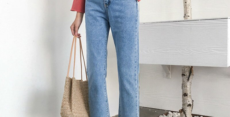 Jeans Women Chic Loose Simple