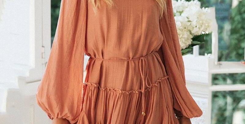 Casual Dress Sash Ruffle