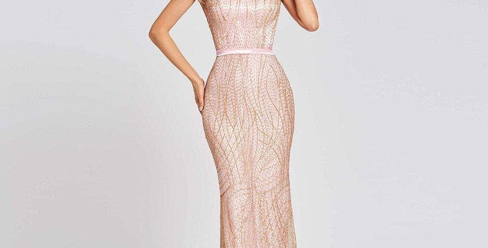 Dress Pink Long Trumpet Evening Dress Backless Cheap Scoop Neck Lace