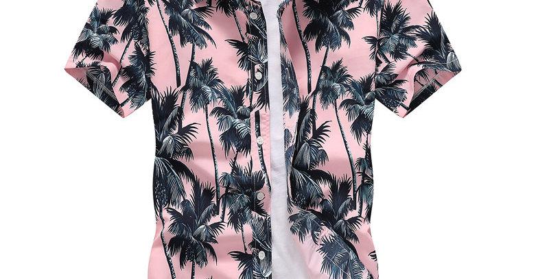 Pink Hawaiian Beach Short Sleeve Shirt Men