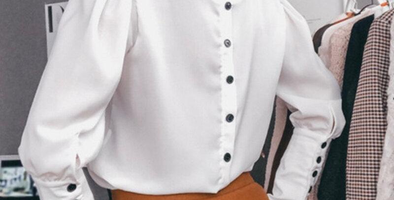 Back Button Blouse Long Sleeve v Neck Solid Elegant