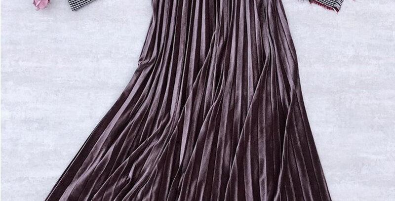 Golden Velvet Long Skirt