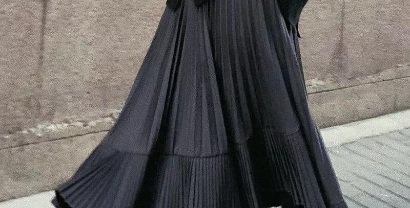Long Pleated Skirt Women High Waist Irregular