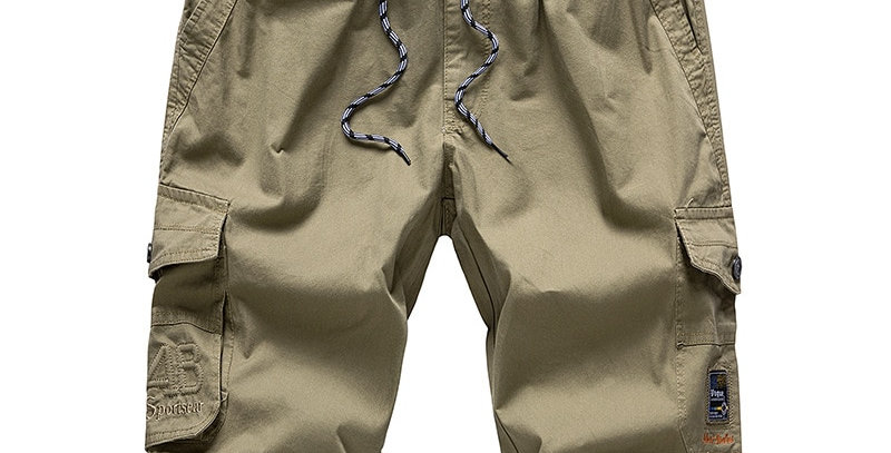 Mens Long Khaki Cargo Shorts Breeches Three Quarter Cotton Bermuda Plus Size