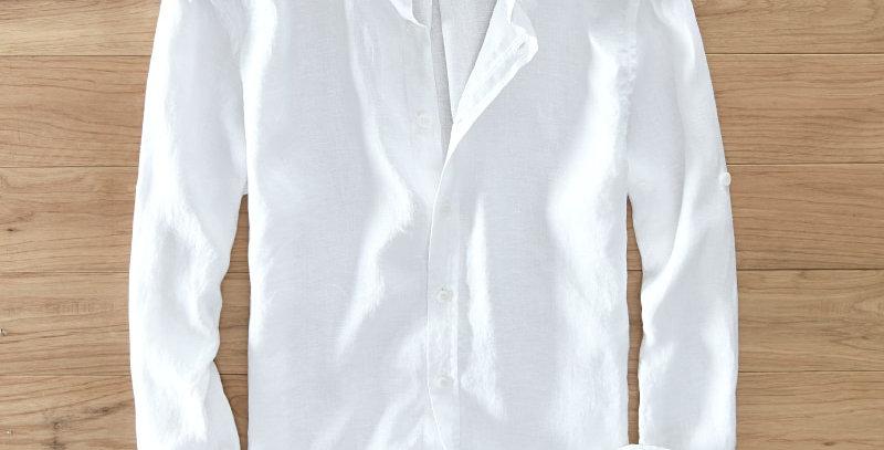 Men's 100% Pure Linen Long-Sleeved Shirt