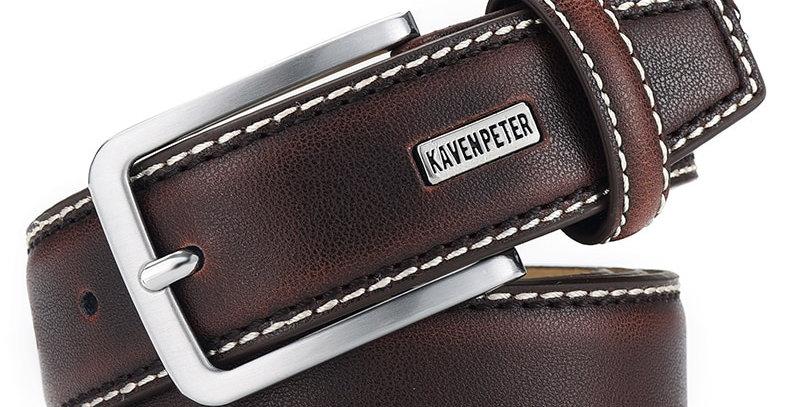 Fashion Men Belts Genuine Leather Brown Vintage Waist Belt for Jeans Cowboy
