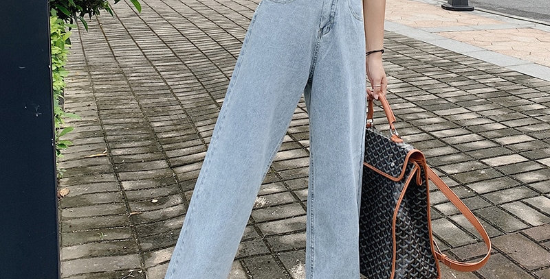 Jeans Women Full Length High Waist Pocket Solid