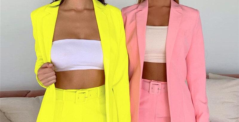 Sampic Women Casual Blazer Pant Suits Long Sleeve Two Piece Set