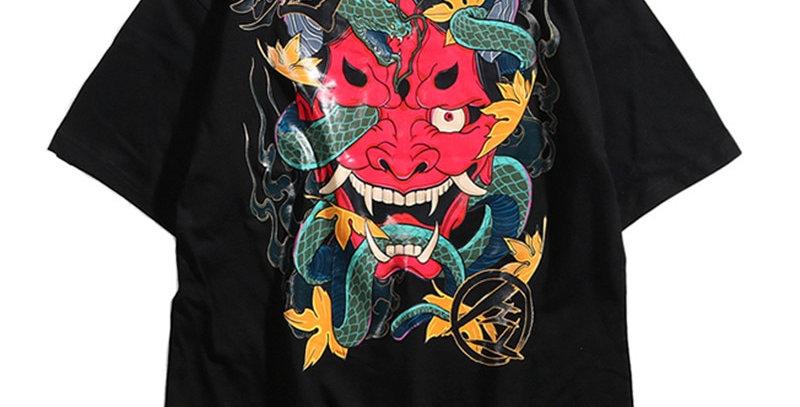 Hip Hop T Shirt Men Snake Ghost T-Shir Cotton