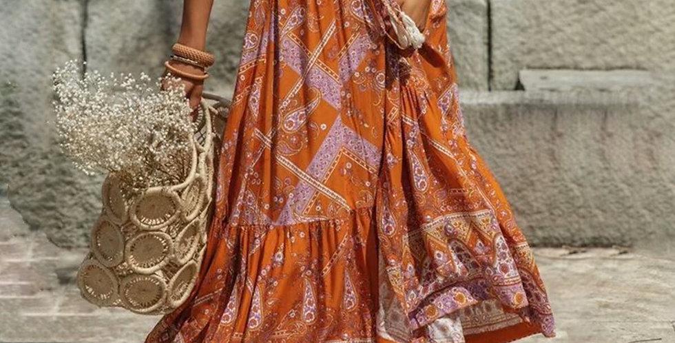 Cotton Orange Floral Print Skirts