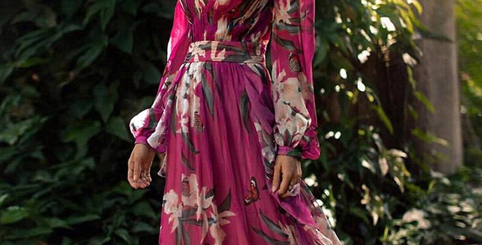 Nadafair Purple Boho Dress Woman Party Elegant Plus Size