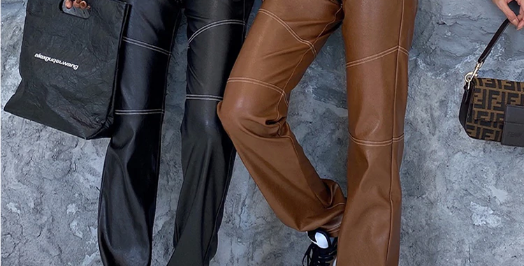 Faux Leather High Waist Straight Pants