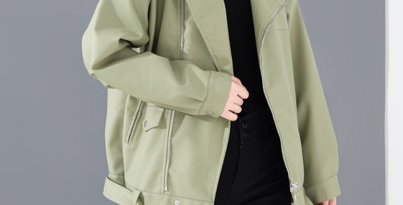 Black PU Leather Loose Turn-Down Collar Zipper Jacket