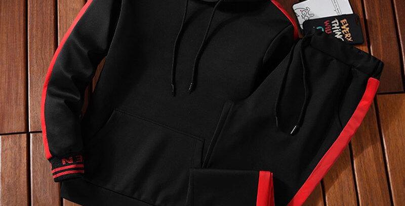 Hooded Men Sportswear Sets Tracksuit Sweatshirt + Sweatpants