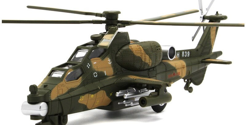 Apache Helicopter Metal Model Aircraf With Pull Back Function/Music/Light