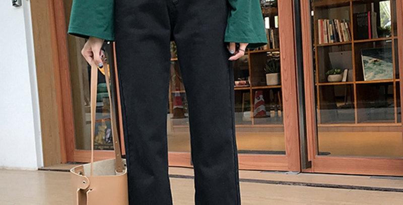 Jeans Denim Women Straight High Waist Solid All-Match Loose
