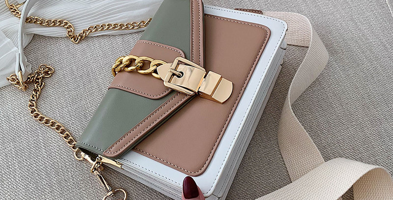 Small Contrast Color PU Leather Crossbody Bags for Women