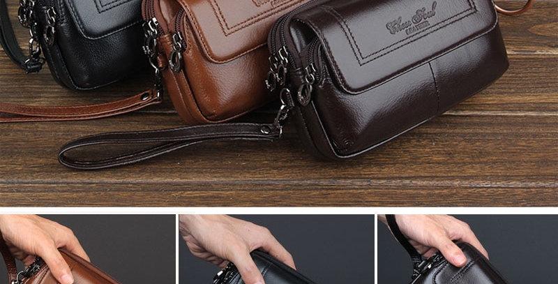 Men  Genuine Leather Waist Bag Clutch Wallet