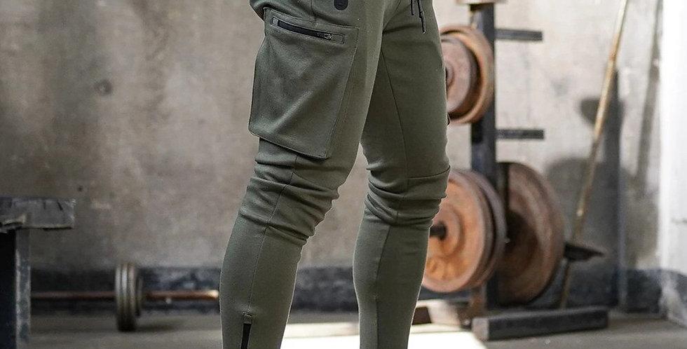 Joggers Sweatpants Men Casual Skinny Pants Multi-Pocket