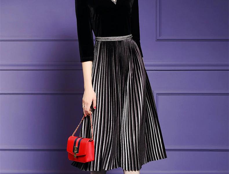 Elegant Beading Velvet Dress Plus Size