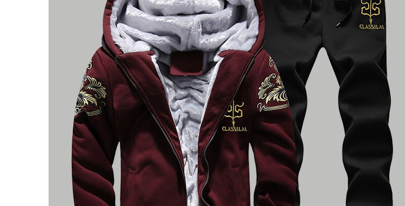 Men Sets Hoodies Warm Thick Fleece Tracksuit Hooded Jackets+Pants 2PC