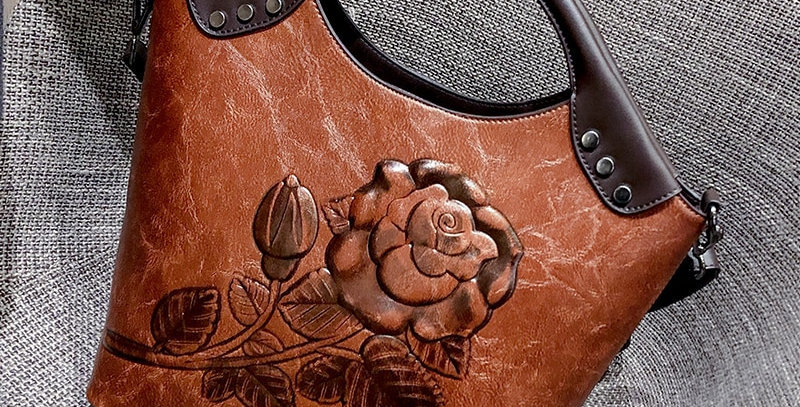 Brand Women Handbag Rose Print Leather Large Capacity