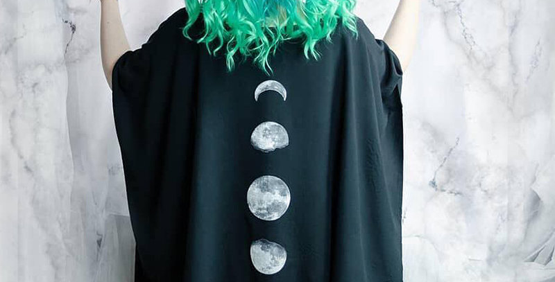 Black Gothic Cape Moon Print Oversized Loose Cloak Asymmetrical Cardigan