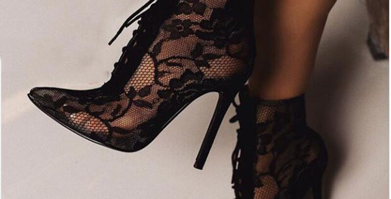 Transparent Women's Boots Pointed Toe Lace-Up