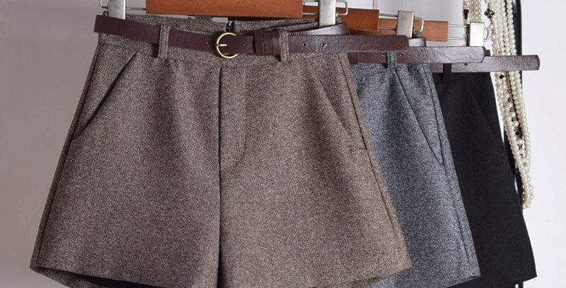 HELIAR Women Wide Leg Woolen Shorts Outerwear Casual High Waist