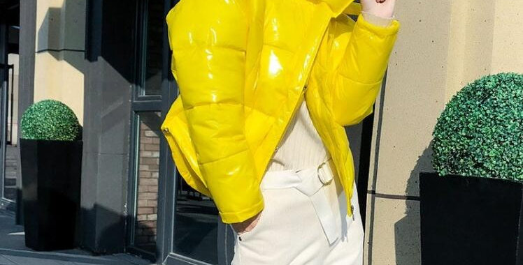 Glossy Winter Down Cotton Padded Jacket for Women