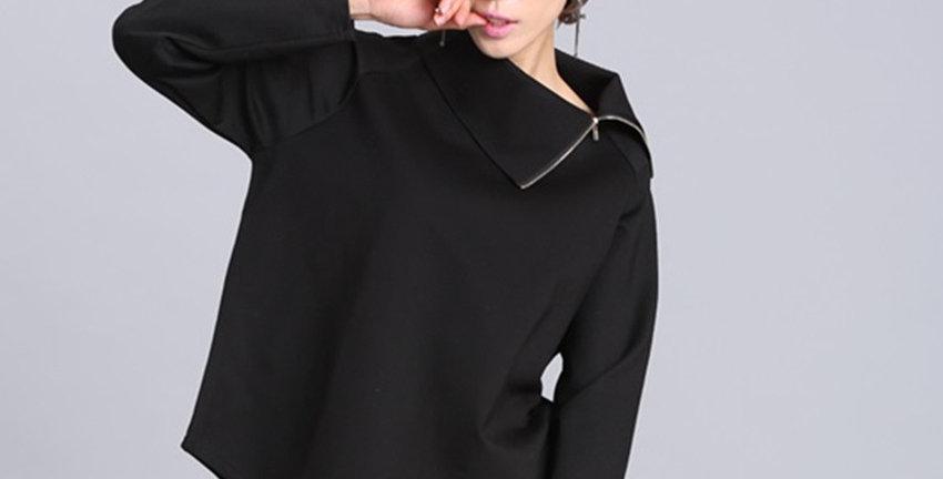 Asymmetric Turtleneck Collar Full Sleeve