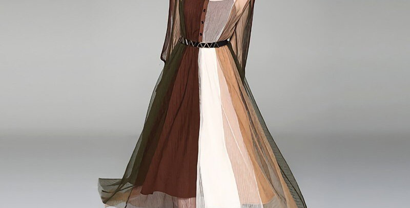 Mesh Double-Layers Hem Irregular Dress