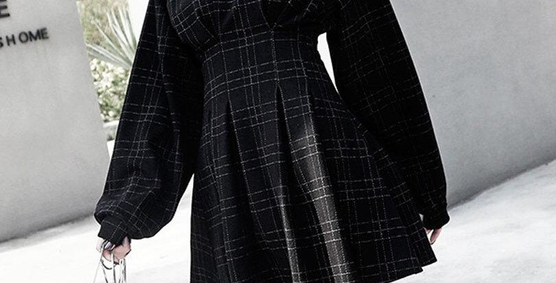 Vintage Mini Dress Long Sleeve Plaid A-Lined Punk Style Gothic