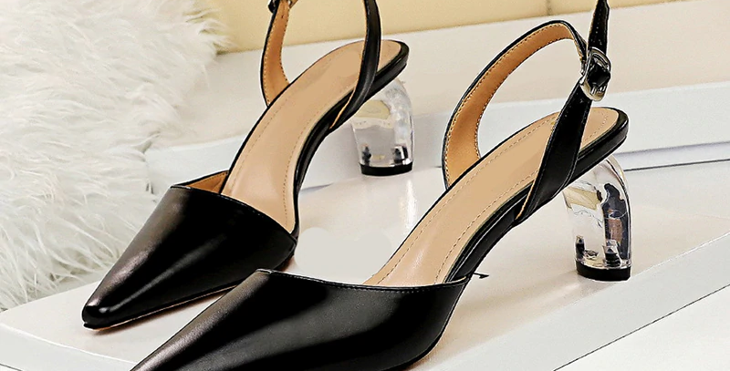 Pointed Toe Shallow Buckle Strap Pu Leather