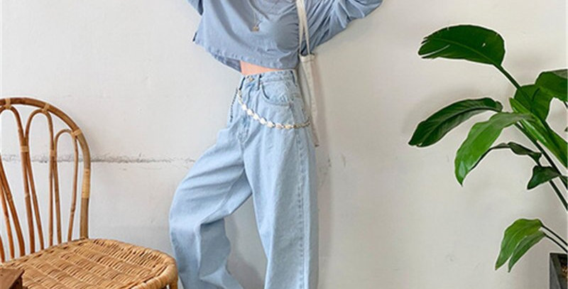 Loose High Waist Slim Jeans Woman