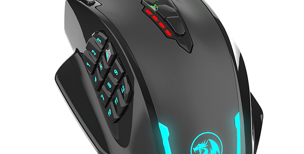 M908 12400 DPI IMPACT Gaming Mouse 19 Programmable Buttons RGB LED