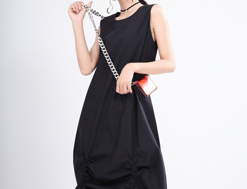 Black Pleated Drawstring Long Dress