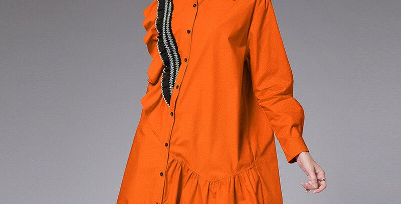 Over Size Cotton Casual Shirt Dress Women