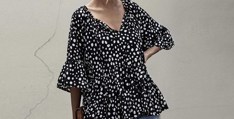 Dilusoo Point Print Women Blouse Shirts v Neck Loose Tops Three Quarter