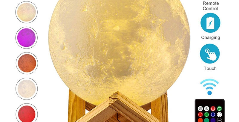 ZK20 LED Night Light 3D Print Moon Lamp Rechargeable Color Change 3D Light Touch