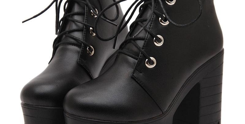 Gdgydh Women Shoes Black High Heels Boots Lacing Platform