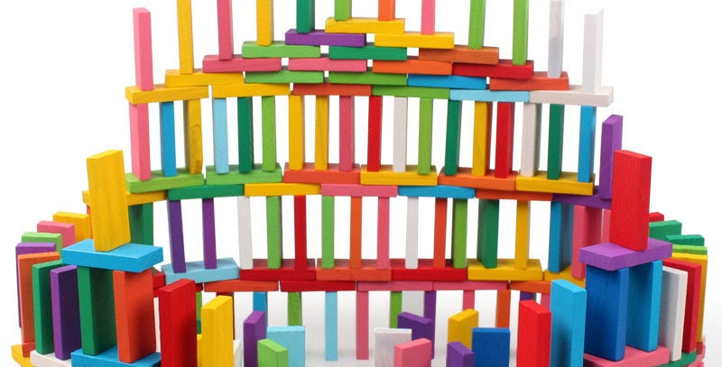 Kids Wood Toy Colorful Domino Game Building Blocks 100pcs/Set