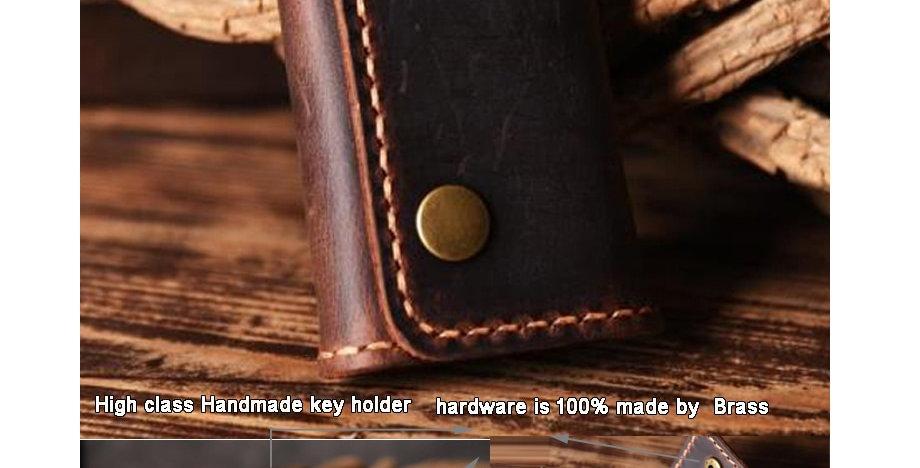 FANCODI Handmade Vintage Genuine Leather Key Holder Men keyChain
