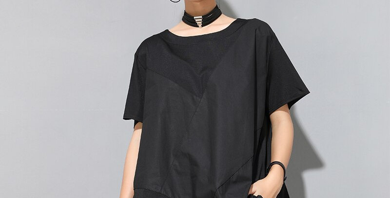 Black Irregular Cotton T-Shirt  Big Size