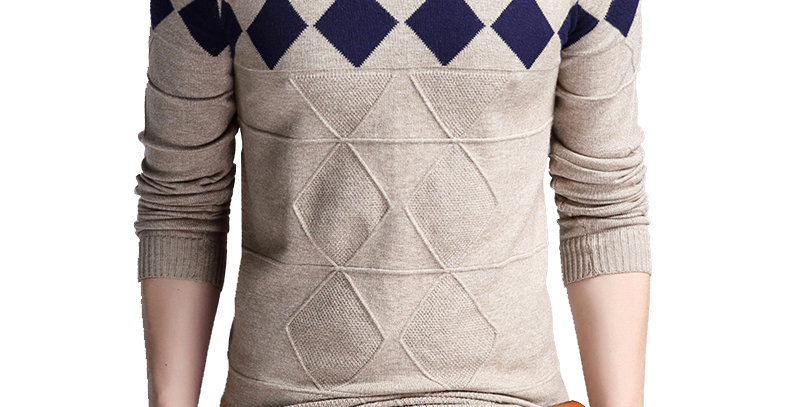 BROWON Men's V-Neck Sweater Collarless Sweater