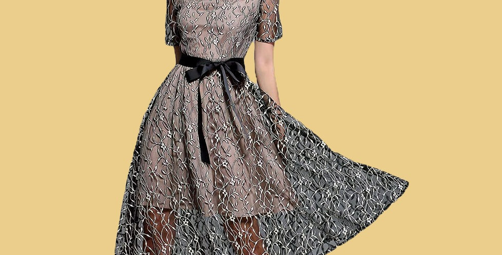 Lace Two Pieces Embroidery Zipper Dress
